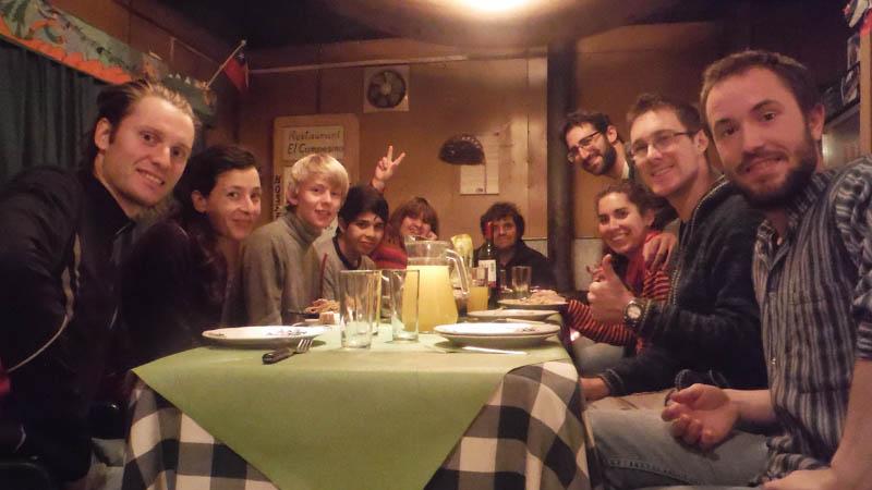 con amigos en Torres del Paine