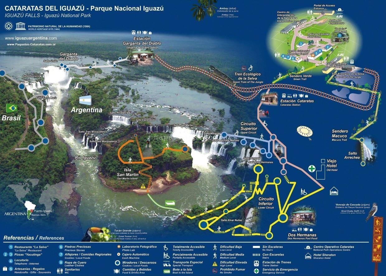 Mapa parque Cataratas Iguazu