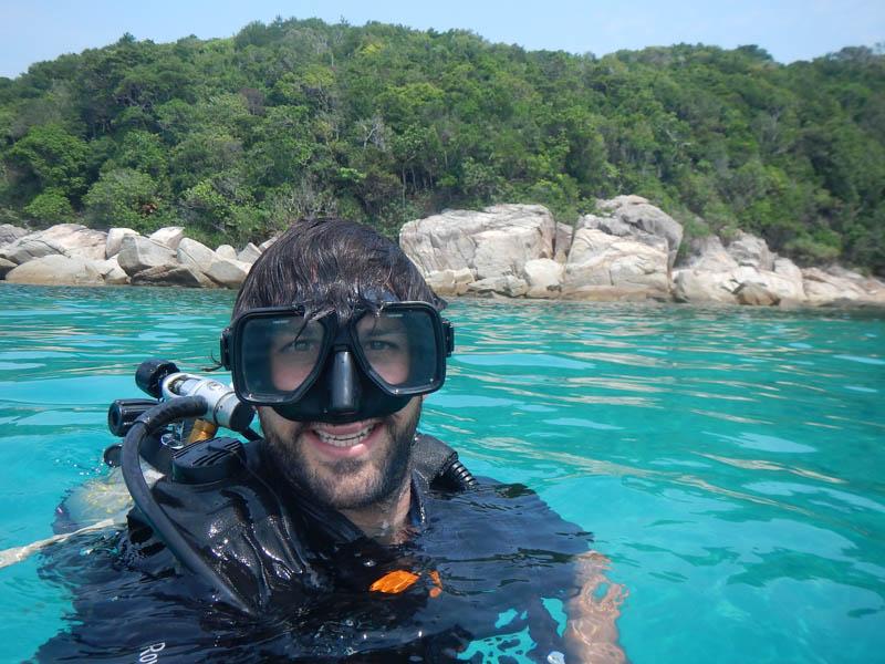 JP buceando en Malasia