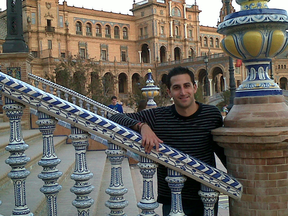JP en la Plaza de España de Sevilla