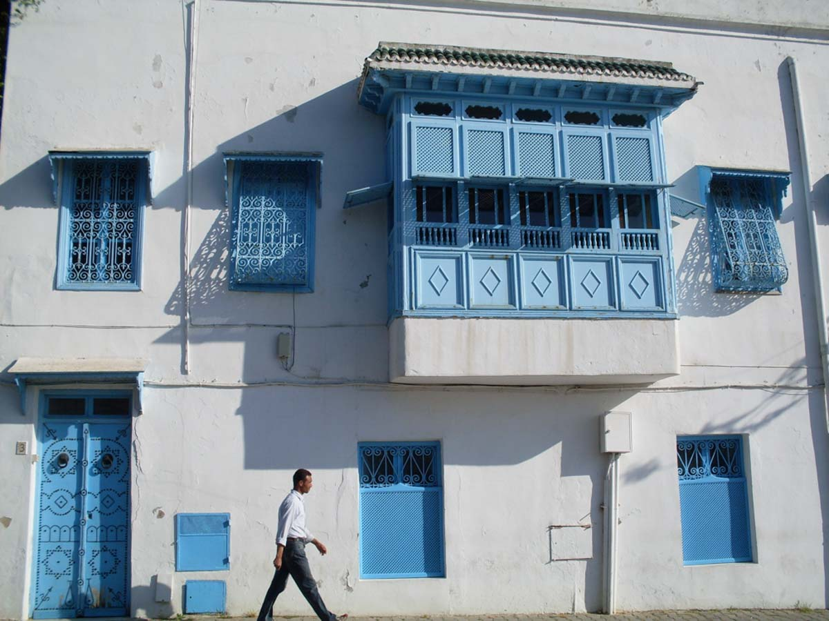 Casas blancas y azules en Tunez