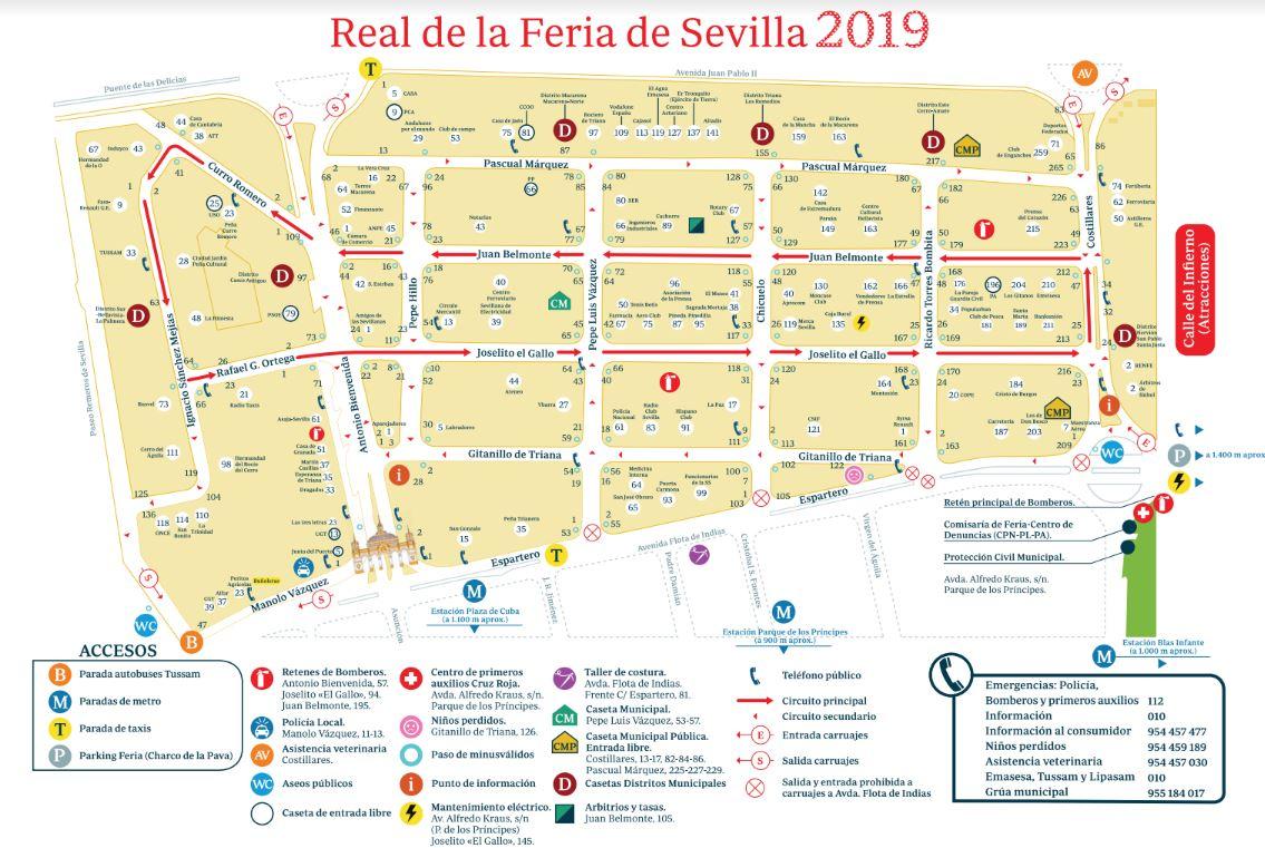 Mapa casetas Feria de Sevilla
