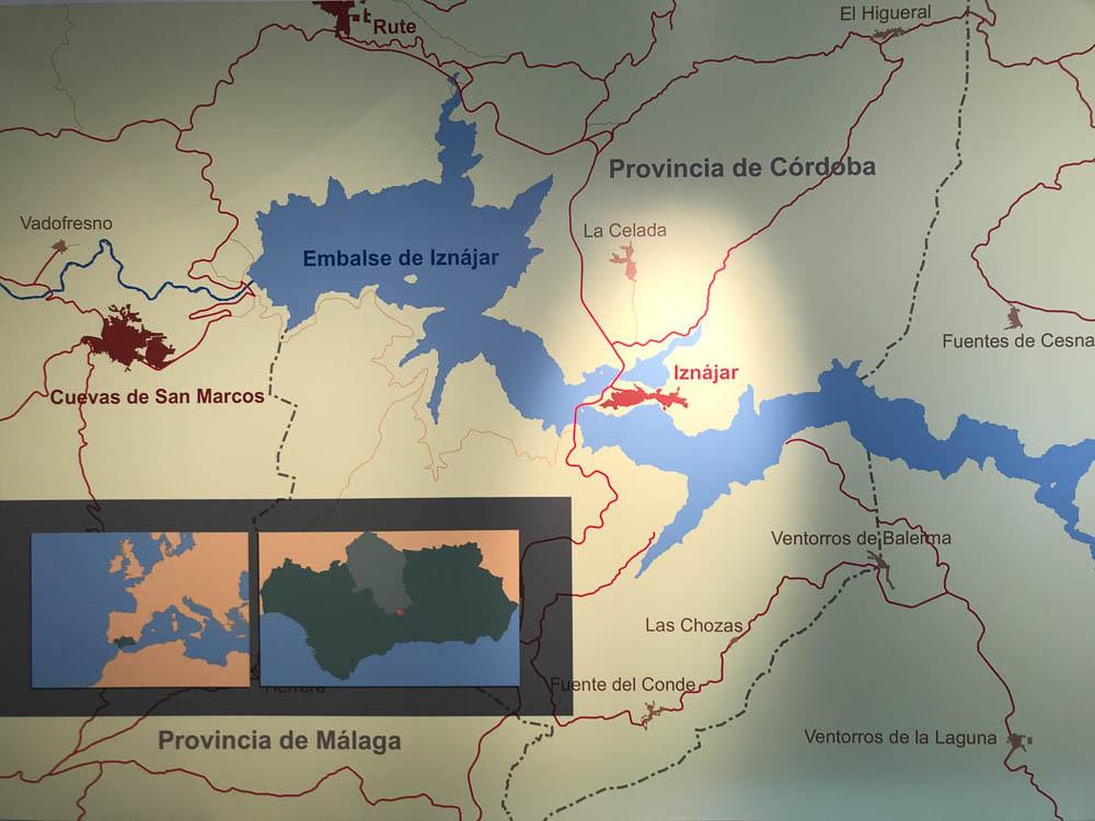 Mapa del lago de Iznajar