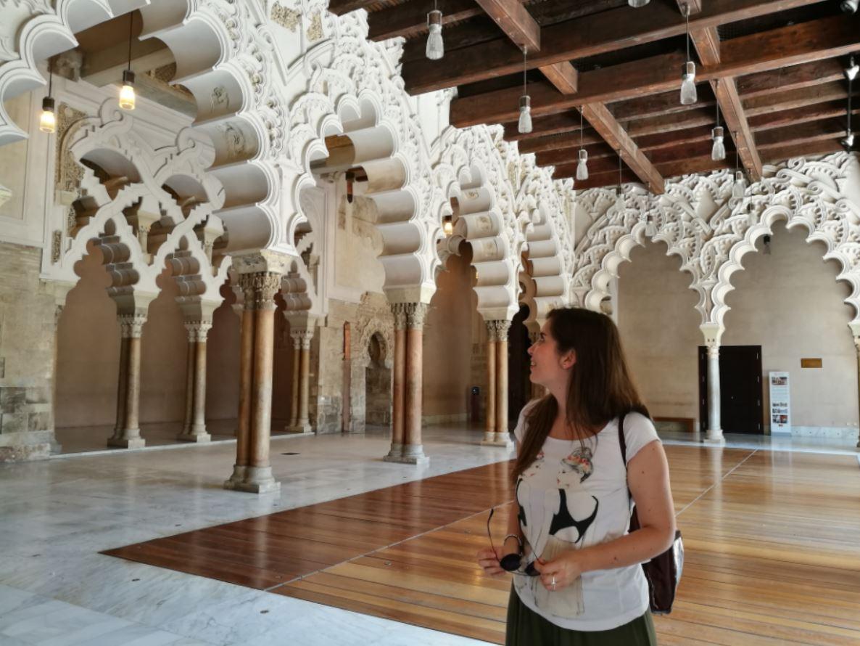 En el interior del monumento en Zaragoza
