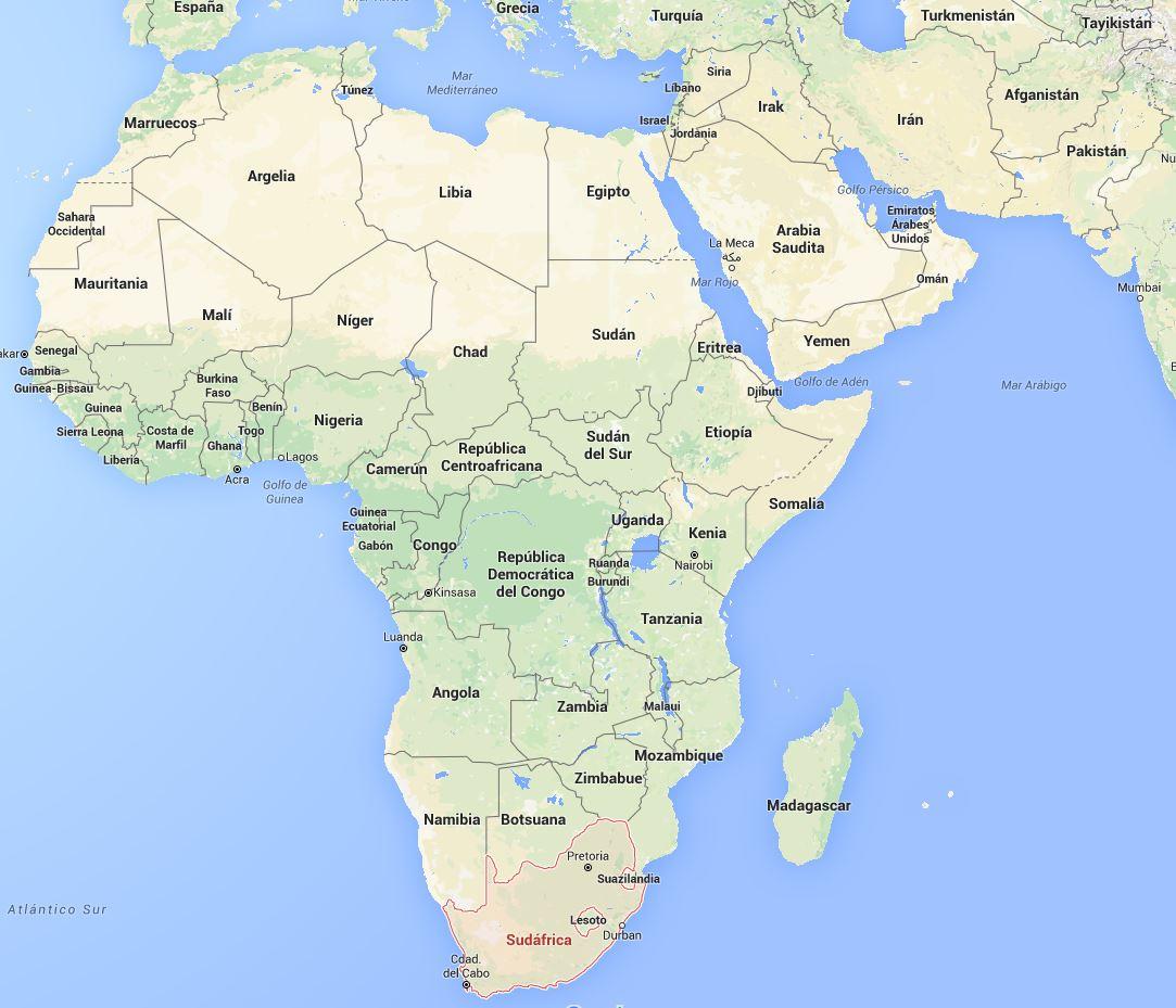 mapa sudafrica