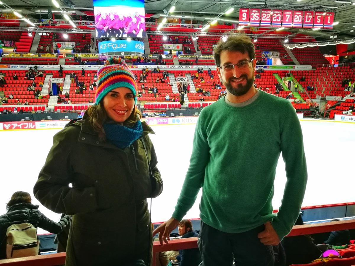 Nosotros en el campeonato mundial de patinaje sobre hielo