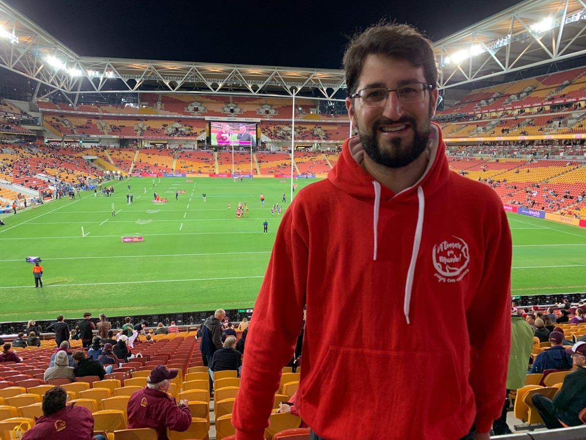 JP en partido de futbol australiano
